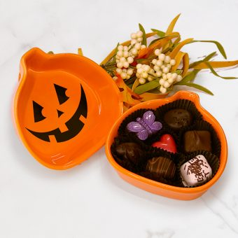 Chocolate filled Jack-O-Lantern box