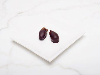 chocolate covered almond stuffed dates